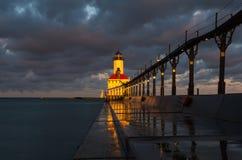 miasta Indiana latarnia morska Michigan usa obraz stock