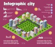 Miasta isometric infographics ilustracji
