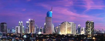 miasta Jakarta zmierzch Zdjęcia Royalty Free