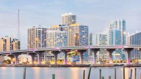 miasta kolorowy Florida Miami noc widok Zdjęcie Royalty Free