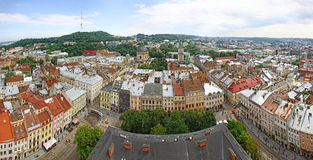 miasta Lviv panoramiczny Ukraine widok Obrazy Stock