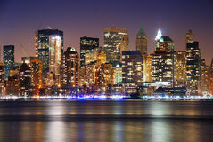 miasta Manhattan nowa noc linia horyzontu York Fotografia Stock