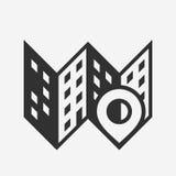 Miasta miejsce, mapy ikona z szpilką Zdjęcie Royalty Free