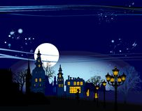miasta noc panorama Zdjęcie Stock