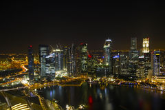 miasta noc Singapore linia horyzontu Obraz Royalty Free