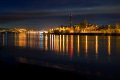 miasta nocy narażenia długi widok Zdjęcia Royalty Free