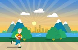 miasta outside parkowego biegacza działająca kobieta Mężczyzna biegacza outside jogging w parku Wektorowa płaska ilustracja zdjęcia stock