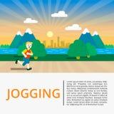 miasta outside parkowego biegacza działająca kobieta Mężczyzna biegacza outside jogging w parku Wektorowa płaska ilustracja zdjęcie stock