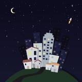 miasta półksiężyc noc deszcz royalty ilustracja