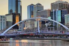 miasta półmroku hdr Melbourne rzeki sceneria Zdjęcie Stock