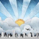 miasta papier przetwarzający wschód słońca zmierzch Zdjęcie Stock