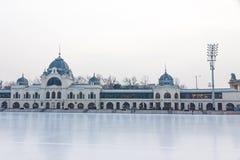Miasta Parkowy Lodowy lodowisko w Budapest, Węgry Zdjęcie Stock