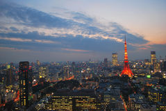 miasta pejzaż miejski półmroku Tokyo widok Fotografia Stock