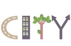 Miasta słowo Zdjęcie Stock