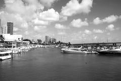 Miasta schronienia nabrzeże z łodziami na błękitne wody w usa obraz royalty free