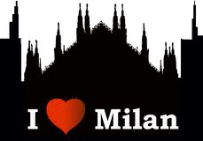 Miasta silhuette kocham Mediolan ilustracja wektor