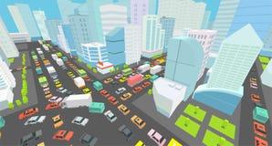 Miasta skrzyżowania ruchu drogowego dżemów uliczna droga 3d Czerni linii konturu konturu stylu szczegółu Prawdziwy wysoki widok D ilustracji