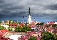 miasta stary dachów s burzy grzmotu widok tallinn Estonia Obraz Royalty Free