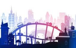 Miasta tło z drogami, mostami i samochodami, ilustracji
