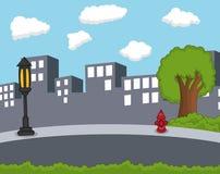Miasta tła kreskówka Zdjęcia Royalty Free