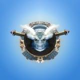 Miasta waterline abstrakt z potwór twarzą Fotografia Royalty Free
