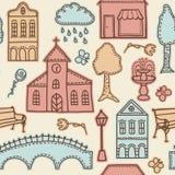 Miasteczka lub miasta projekta elementy na bezszwowym wzorze Zdjęcia Royalty Free