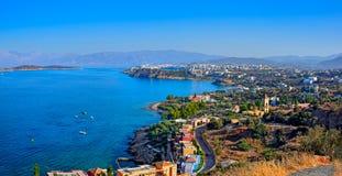 Miasteczko Agios Nikolaos i Mirabello zatoka crete Zdjęcie Royalty Free