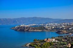 Miasteczko Agios Nikolaos i Mirabello zatoka crete Obrazy Royalty Free