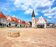 Miasteczko Bardejov, Sistani UNESCO dziedzictwo fotografia royalty free