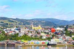 Miasteczko Castro, colourful nabrzeże Chiloe wyspa, Patagonia, Chile fotografia royalty free