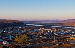 Miasteczko chińsko-rosyjska granica Zdjęcie Stock