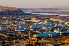 Miasteczko chińsko-rosyjska granica Zdjęcia Stock