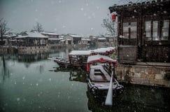 Miasteczko Dangkou w Wuxi snowing Obrazy Stock