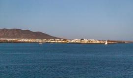 Miasteczko i schronienie Playa Blanca Zdjęcia Royalty Free