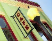 Miasteczko kawiarni znaka Lokalna Miastowa Restauracyjna knajpa obraz royalty free