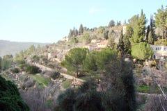 Miasteczko Latran i Ain Karo w Judea Izrael Krajobrazy na ulicach na obrzeżach miasteczka i Obraz Royalty Free