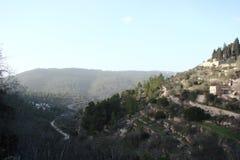 Miasteczko Latran i Ain Karo w Judea Izrael Krajobrazy na ulicach na obrzeżach miasteczka i Fotografia Royalty Free