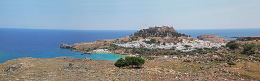 Miasteczko Lindos w grku Fotografia Royalty Free