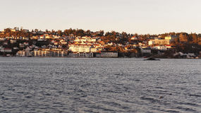 Miasteczko lokalizujący na skłonie fjord Obrazy Stock