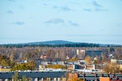 Miasteczko panoramiczny widok od above w jesieni obrazy royalty free