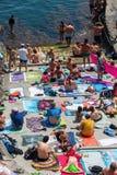 Miasteczko plaża w Manarola, Cinque Terre, Włochy Zdjęcia Royalty Free