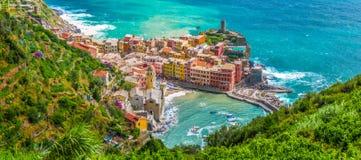 Miasteczko Vernazza, Cinque Terre, Włochy Zdjęcia Royalty Free