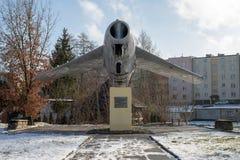 Miastko, Pomorskie/Польша - 30-ое января 2019: Памятник самолета в городке Miastko в Померания стоковое изображение