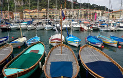 Miasto Ładny - kolorowe łodzie w Portowym De Ładny Zdjęcie Stock