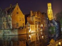 miasto światła brugii Brugge noc Obraz Stock