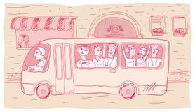 Miasto autobus z ludźmi na ulicie ilustracji