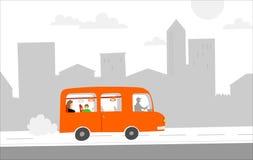 miasto autobusowa czerwień ilustracji