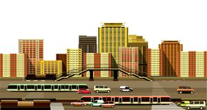 Miasto autostrada i budynki royalty ilustracja