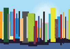 miasto barwi ilustracyjną wieloskładnikową linia horyzontu Obrazy Stock