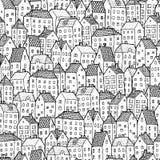 Miasto bezszwowy wzór w plecy i bielu Zdjęcie Stock